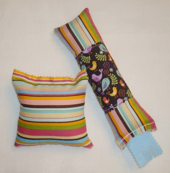 Catnip Cat Toys - Kickstick & Pillow Set - Colorful Stripe with Birds Fabric