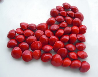 100 Red 'Coral' Seeds for jewellery or craft making