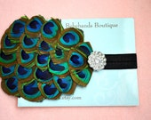 Baby Girl Headbands..Baby Headband ...peacock feathers with rhinestone accent on black elastic headband