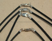 Black Leather Necklace 16 Inch 1.5mm With Sterling Silver Lobster Claw Clasp - One Necklace