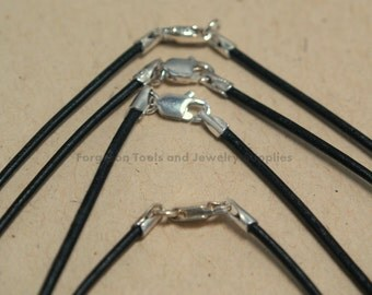Black Leather Necklace 20 Inch 1.5mm With Sterling Silver Lobster Claw Clasp - One Necklace - 61320