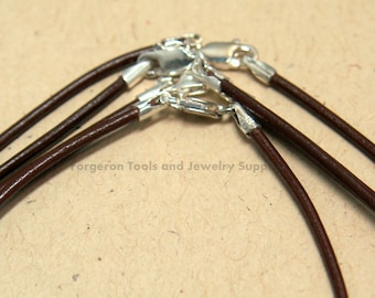 Brown Leather Necklace 16 Inch 1.5mm With Sterling Silver Lobster Claw Clasp - One Necklace