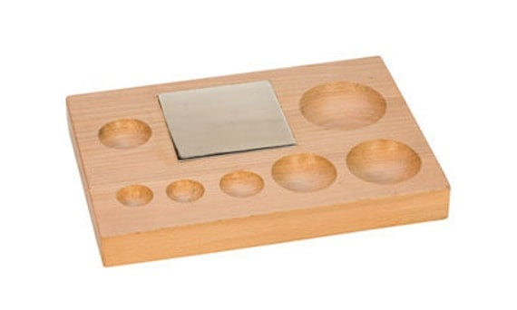 WOOD Groove SHAPING BLOCK w/ Steel Block - 7 Round Grooves -  Jewelry Tools for Metal Work