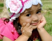 White Baby Hat with Flower and Leaves, Crochet Hat, Newborn Hat, Girl Crochet Hat, Flower Hat
