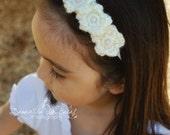 Baby Crochet Flower Headband in Ivory - Made to Order