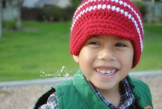 Infant/Toddler/Boy's Crochet Newsboy Hat/Beanie - Made to Order - Red and White