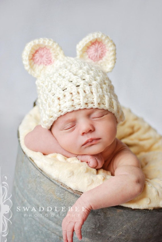 Baby Crochet Hat with Ears Attached in Cream and Light Pink - Perfect for Photos - Newborn and Baby Sizes Available