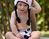 Bessie the Cow Crochet Beanie with Earflaps