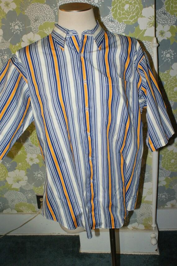 Vintage Christian Dior Monsieur Blue, Orange & White Stripe Short Sleeve Button Down Casual Shirt L
