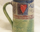 ceramic heart mug 16oz stoneware 16B001