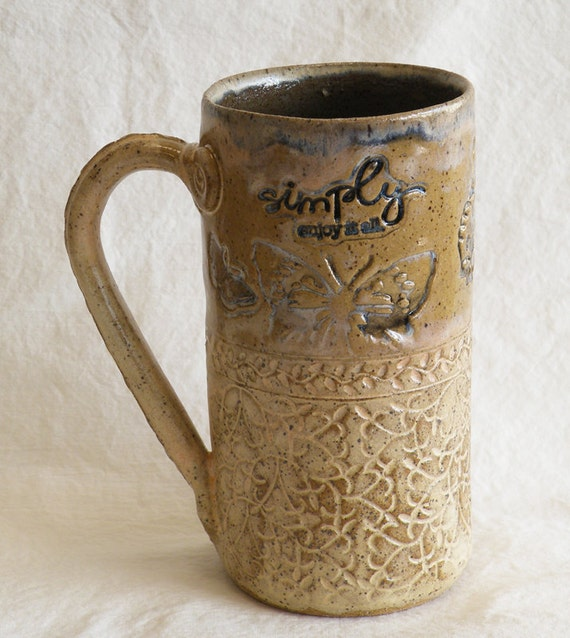 ceramic butterfly coffee mug 20oz stoneware 20A006