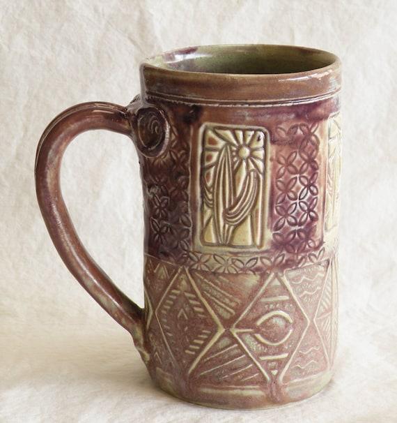 southwest design ceramic mug 16oz stoneware 16D018