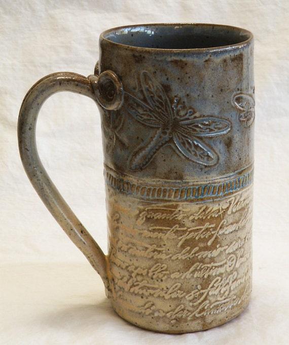 ceramic dragonfly coffee mug 20oz stoneware 20A058