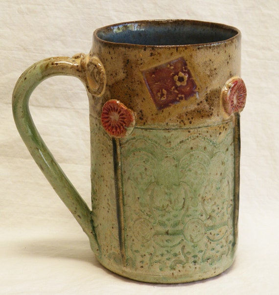ceramic garden coffee mug 16oz stoneware 16A075