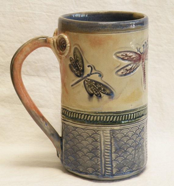 ceramic dragonfly coffee mug 20oz  stoneware 20A091