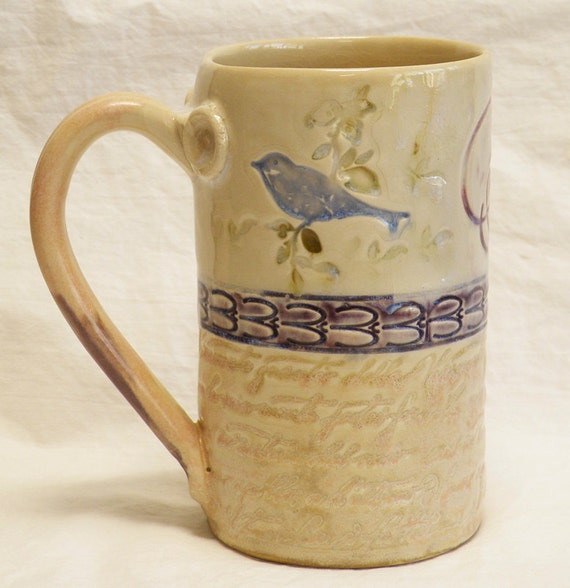 blue bird ceramic coffee mug 16oz stoneware 16A094