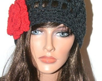 Handmade Charcoal Grey Hat with Sparkly Red Flower Detail