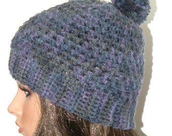 Shades of Blue Winter Hat with Pom Pom