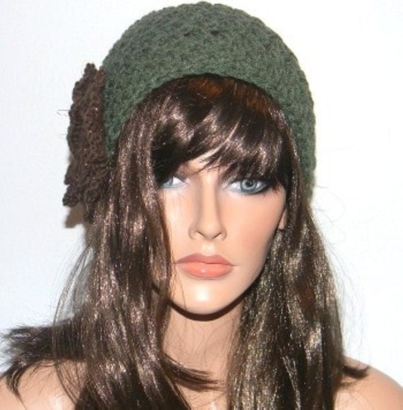 Handmade Green Hat with Brown Sparkle Detail