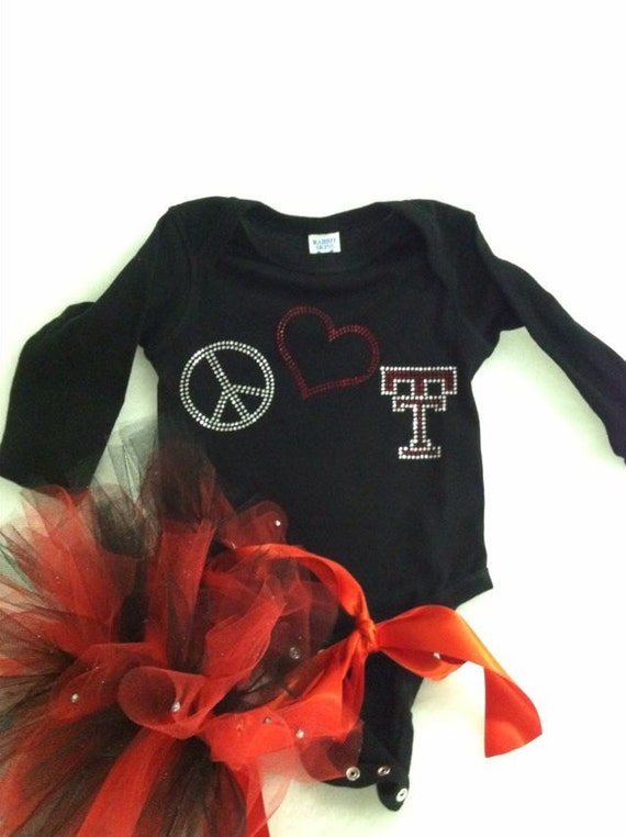 Texas Tech rhinestone onesie and blue jean tutu