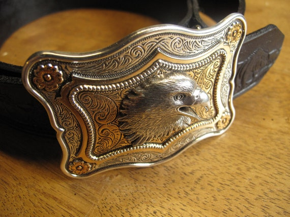 custom western heavy leather belt with silver by