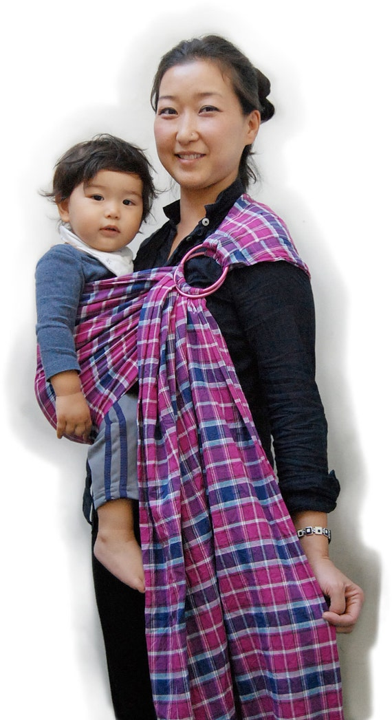 Last One Baby Sling Baby Carrier with Reversible  2 Layers of High Quality 100% Cotton -Pinkberry Tartan - With Wearing Instruction
