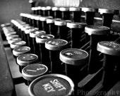 Typewriter, vintage, black, white, masculine, office decor, fine art photograph, 8x10 print