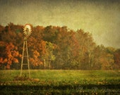 Windmill, autumn, fall, farm, rustic, country, farmhouse, home decor, original fine art photograph, 5x7 print, metallic finish