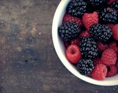 Farm, fresh, mixed berry, raspberry, blackberry, rustic, farmhouse, kitchen, home decor, original fine art photograph, 8 x 10