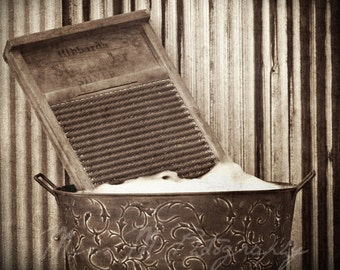 Vintage, rustic, sepia brown, laundry washboard, wash day, country/farmhouse home decor, original fine art photograph, 8x10 print