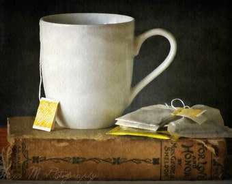 Tea, books, tea bag, mug, charcoal, cream, tan, yellow, kitchen, home decor, original fine art photograph, 5x7 print, metallic finish