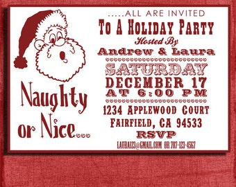 Holiday Naughty or Nice Party  Invitation- 4x6 Invitation-Print at home