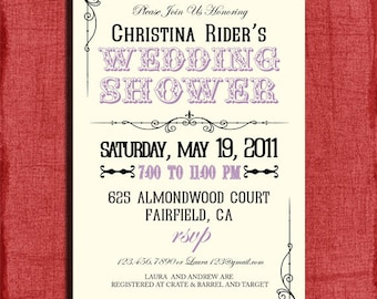 Vintage Style Wedding Shower  4x6 Invitation-Printable