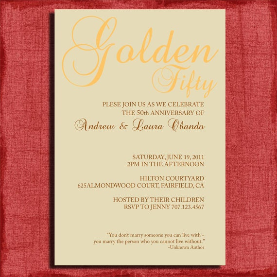 25th or 50th wedding anniversary invitation w quote 4x6 invitation diy