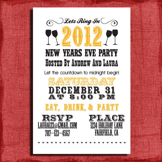 items similar to new years eve party invitation- 4x6 invitation, Party invitations