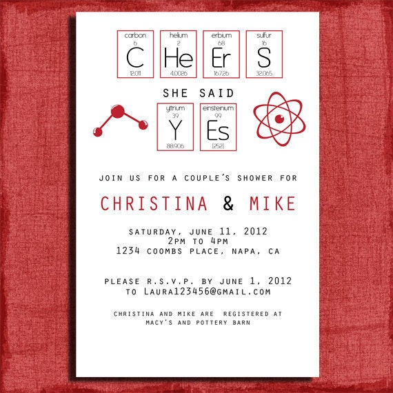 Total Geek Chic Couples Wedding Shower  4x6 Invitation-Printable