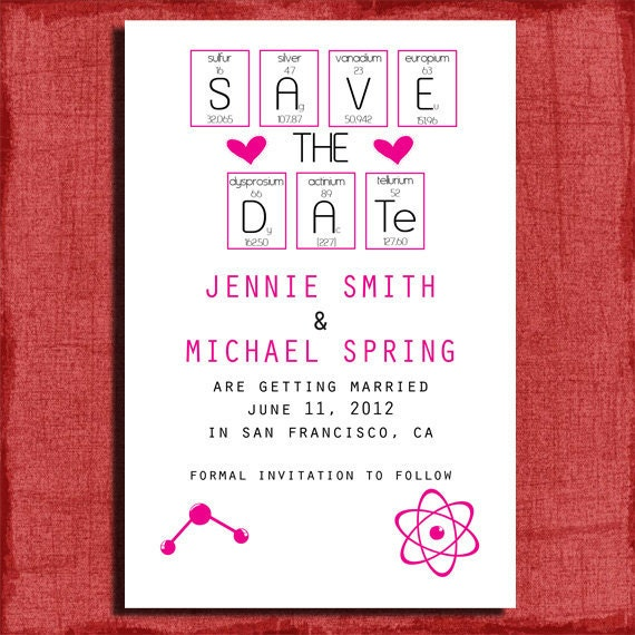 Printable Save the Date Announcement-Geeks in Love 4x6 Invitation-DIY