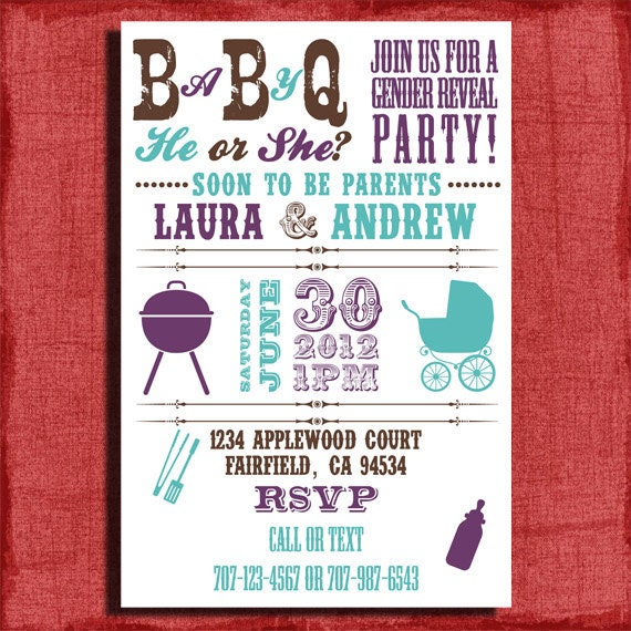 Printable Baby Q Gender Reveal/ Baby Shower BBQ 4x6 or 5x7