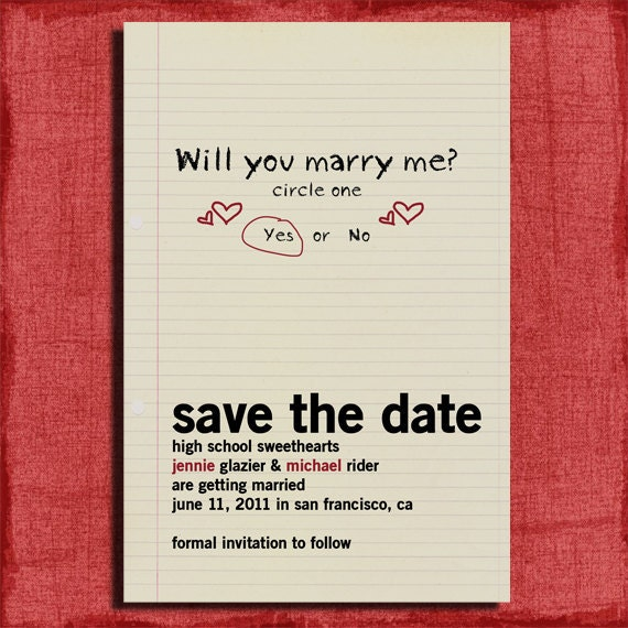 Wedding Gift For High School Friend : Printable Save the Date Announcement-High School Sweethearts