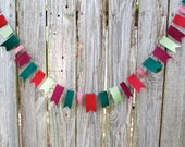 Christmas Garland Felt and Ribbon in Rustic Red, Green and Gingham - 3 ft