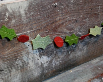 Christmas Garland Felt Holly - Rustic Hand-Cut Leaves and Berries for Home or Party Decor 3 ft READY TO SHIP