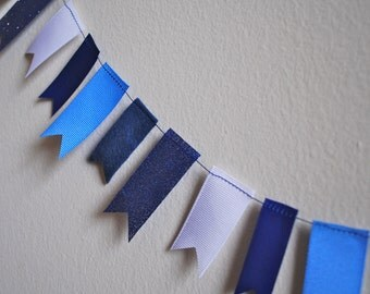 Winter Holiday Garland - Felt and Ribbon in Winter Blues and White, Glitter - 3 ft