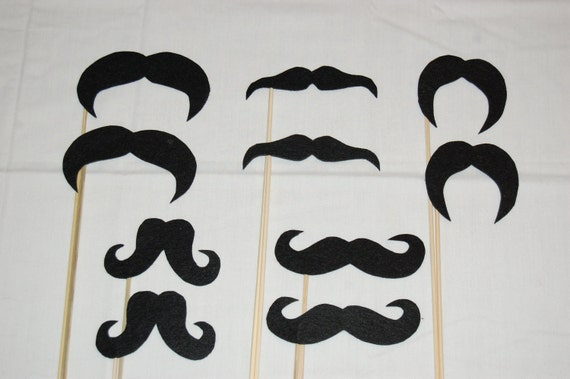 Mustaches on a stick - party pack (10)