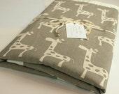 LAST ONE - Minky Baby Blanket -Taupe Giraffe-