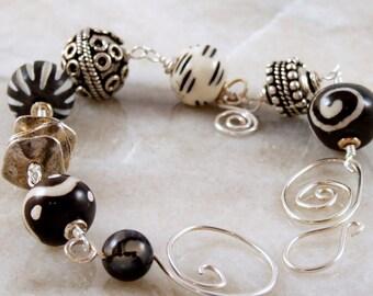 Boho Style Beaded Silver Bracelet
