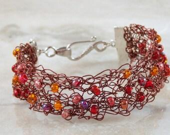 Brown Crochet Wire Beaded Bracelet