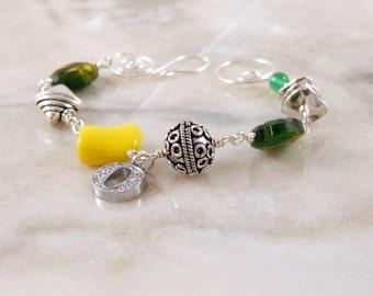 School Spirit Yellow and Green Beaded Bracelet