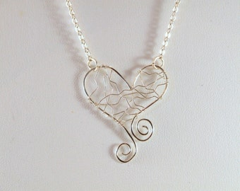 Silver Love Wire Necklace