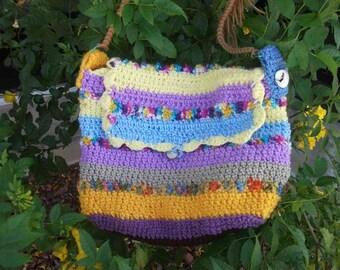 Freeform crochet Rainbow Purse, bag, tote, lined w/pocket