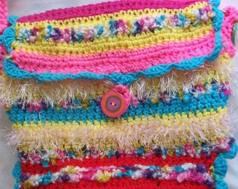 freeform crochet  and lined HAPPY PURSE